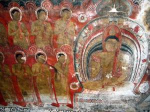 Peinture du Bouddha au temple de Dambulla au Sri Lanka