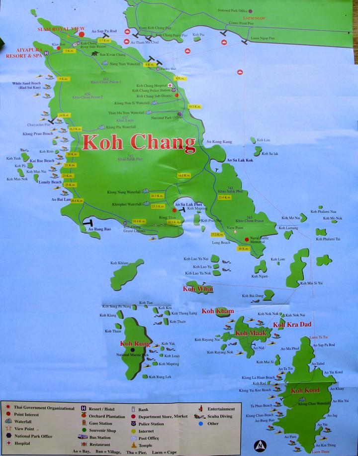Carte touristique de Koh Chang