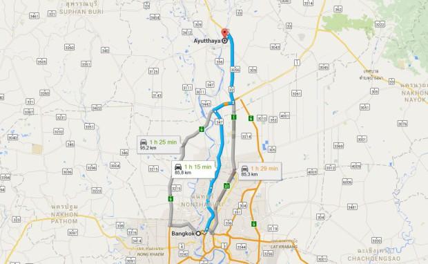 carte-trajet-bangkok-ayutthaya