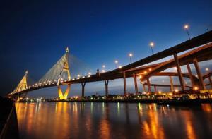 Le Bhumibol Bridge à Bangkok (Pont Rama IX)