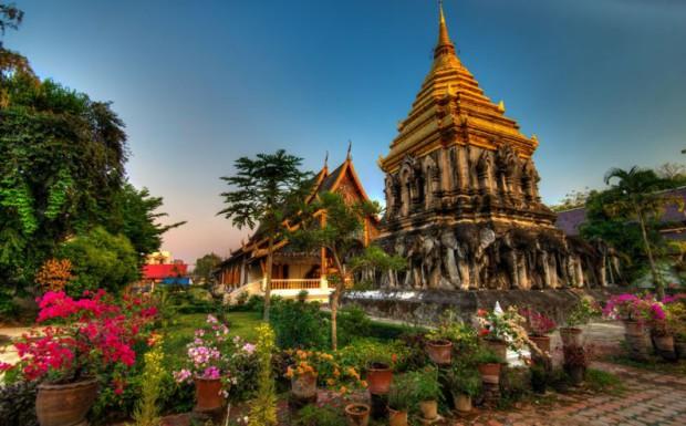 Le temple de Wat Chiang Man à Chiang Mai