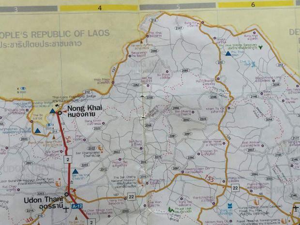 Carte pour se rendre à Wat Phu Tok (Triangle bleu au nord-est)